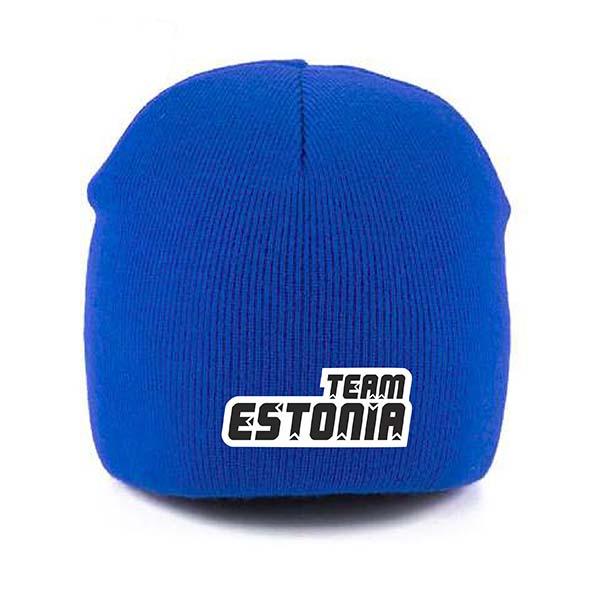 Team Estonia sinine kootud müts